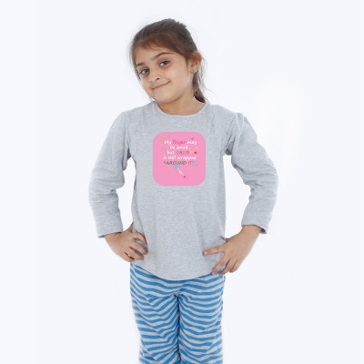 Grey Full Sleeve Girls Pyjama - Baby Quotes